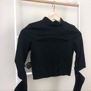 NWT Nasty Gal Mock Neck Cutout Sleeve Crop Top